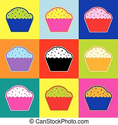Cupcake sign. Vector. Pop-art style colorful icons set with 3 colors.
