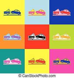 Tow truck sign. Vector. Pop-art style colorful icons set with 3 colors.