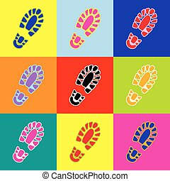 Footprint boot sign. Vector. Pop-art style colorful icons...