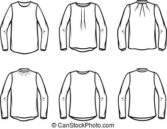 Blouse - Vector illustration of knitted blouse. Casual...