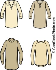 Women's blouse - Vector illustration of knitted blouse....