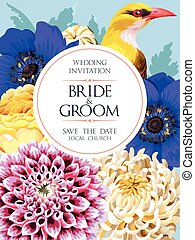 Wedding invitation with flowers - Vector wedding invitation...