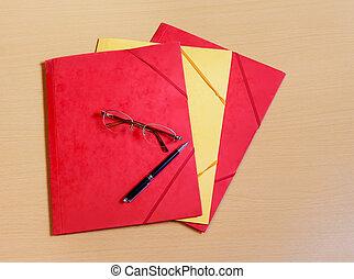 Office folders on desk