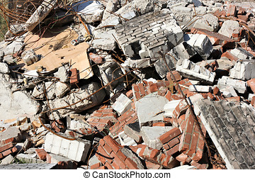 building rubble from demolished residential house