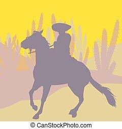 Jinete mexicano - Mexican rider. Cinco de mayo. Vector...