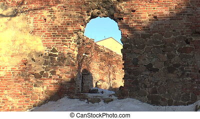 Ruins and debris of the old brick house.