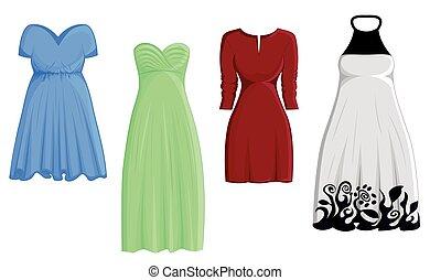 Set of four dresses