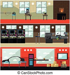 Vector set of factory interior posters, banners in flat...