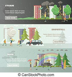 Vector set of weather concept horizontal banners in flat...