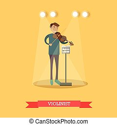 Vector flat illustration of violinist performing classical music