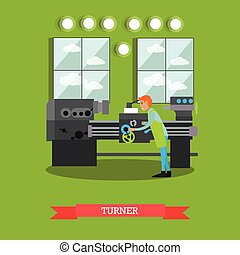 Factory turner vector illustration in flat style - Vector...