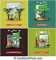 Vector set of first assistance posters in flat style -...
