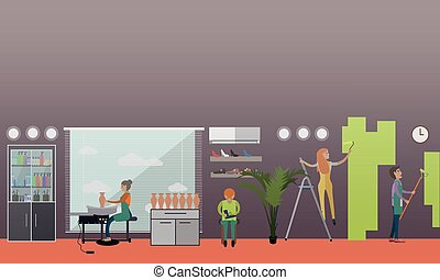 Arts and crafts professionals vector illustration in flat style
