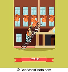 Stairs vector illustration in flat style.