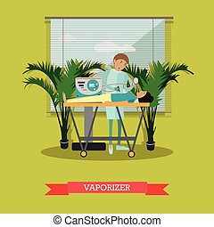 Defibrillator vector illustration in flat style - Vector...
