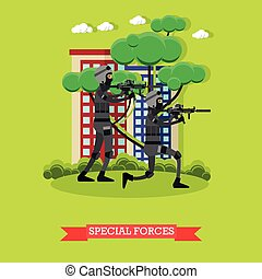 Special Forces vector Illustration in flat style - Vector...
