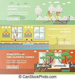 Vector set of olympic sports flat horizontal banners -...