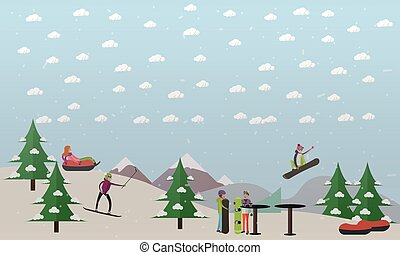Downhill ski track vector illustration in flat style -...