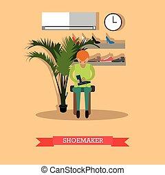 Shoemaker working in workshop vector flat illustration -...