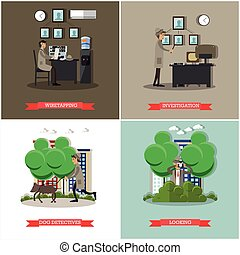 Vector set of investigation posters in flat style - Vector...