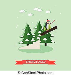 Springboard vector illustration in flat design.