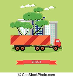 Vector illustration of delivery truck in flat style