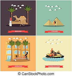Vector set of vacation in Egypt concept flat posters -...