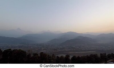 View from Sarangkot, sunrise timelapse - Timelapse of the...