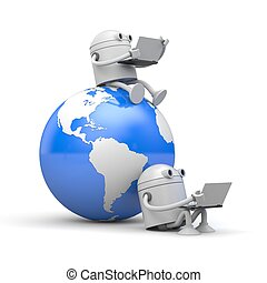 Robots works on laptop sitting on the globe and next to it. 3d illustration