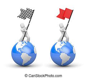 3d man waving flag. Set of two illustration. 3d illustration