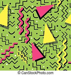 Funky Memphis Pattern on Green - A funky seamless Memphis...