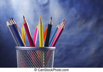 color pencil - group of the color pencil on the blue...