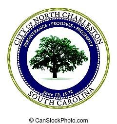 Seal of North Charleston, South Carolina, USA. Vector Format.