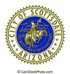 Seal of Scottsdale, Arizona, USA. Vector Format.