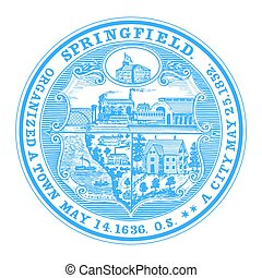 Seal of Springfield, Massachusetts, USA. Vector Format.
