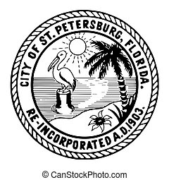 Seal of St. Petersburg, Florida, USA. Vector Format.
