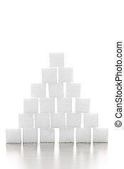 Sugar cube pyramid - Pyramid of white sugar cubes stacked up...