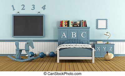 Retro child bedroom with blue wooden bed, blackboard and...