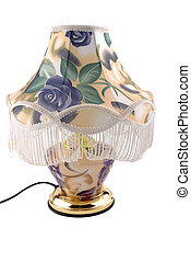 Desk lamp with a fabric lamp shade on a white background