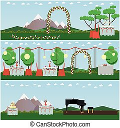 Vector set of outdoors wedding scenery posters in flat style...
