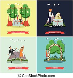 Vector set of wedding posters in flat style - Vector set of...