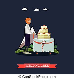 Wedding cake vector illustration in flat style - Vector...