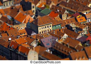 European medieval city view, miniature tilt shift lens effect
