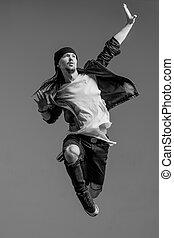 Young beautiful dancer posing in studio - Young beautiful...