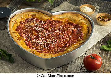 Homemade Heart Shaped Chicago Deep Dish Pizza for...