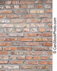 A wall lined with red brick