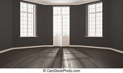 Empty room with big windows ad parquet floor, minimalist classic interior design