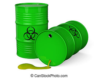 Toxic waste - Spilled green barrels with toxic waste...