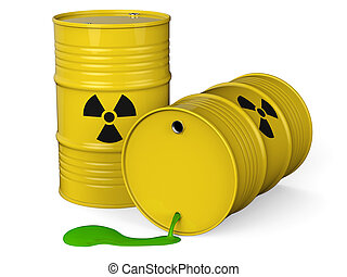 Toxic waste - Spilled yellow barrels with toxic waste...