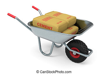 Equipment for building worker - Wheelbarrow with cement,...